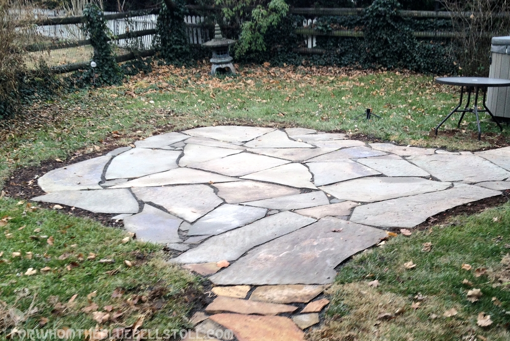 Check out the throwing star design in the flagstones! The site of the pond would be just behind this patio.