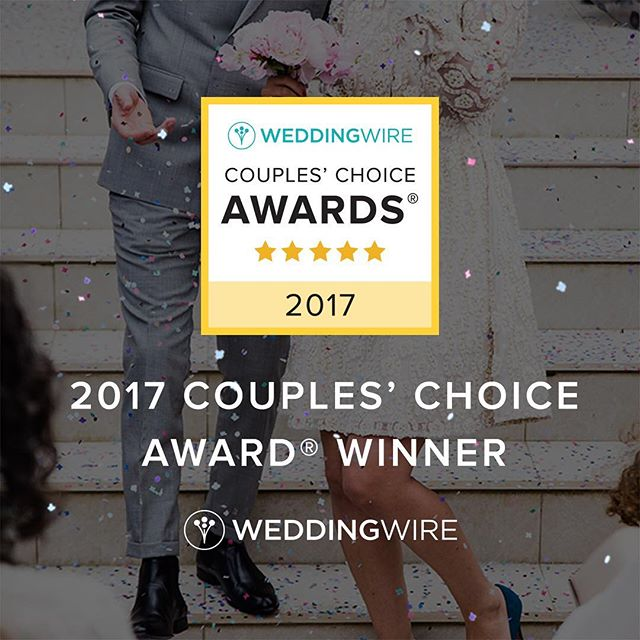 We're delighted to be chosen as a 2017 Couples' Choice Award Winner on Wedding Wire! Thank you for all of your support!