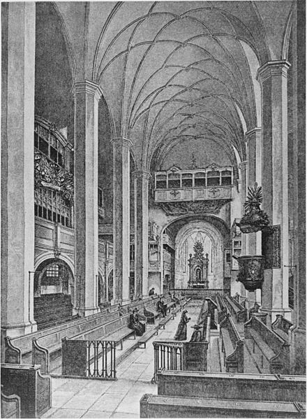 Thomaskirche in Leipzig in a mid-18th-century etching. - The elevated pulpit and sounding board direct the spoken word to the congregation, who sits in pews arranged so they can hear but not always see the speaker.Photo credit: Wikimedia Commons.