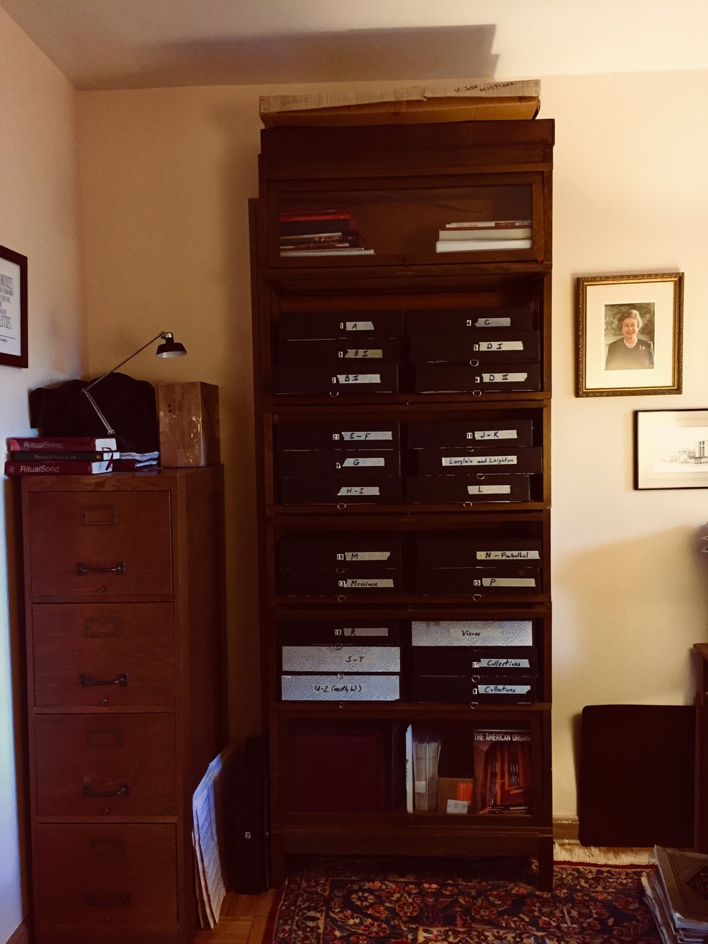 Organ music  - in files in Crawford's office