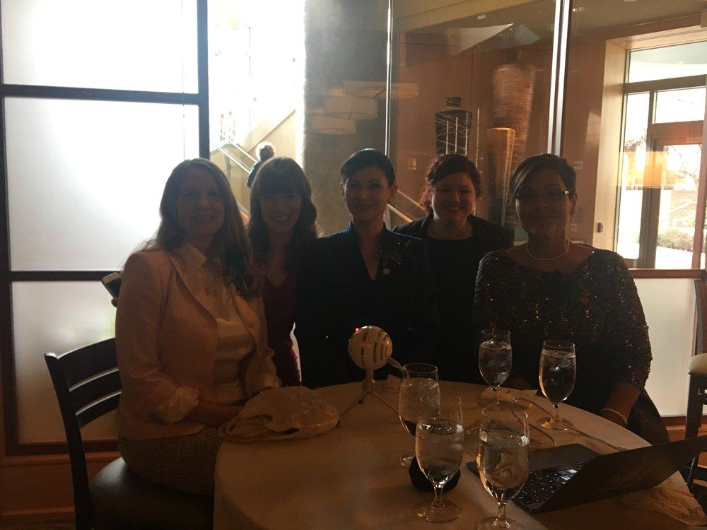 Delegate Wendy Gooditis, Sarah, Delegate Karrie Delaney, Beth, and Delegate Hala Ayala