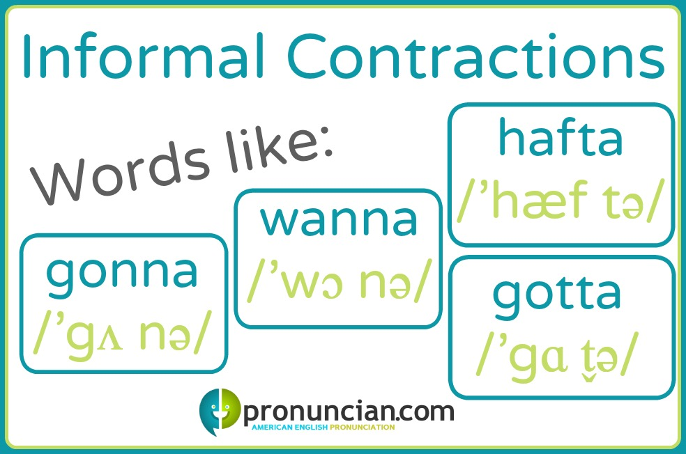 "Informal contractions like ""gonna, wanna, hafta, and gotta"""