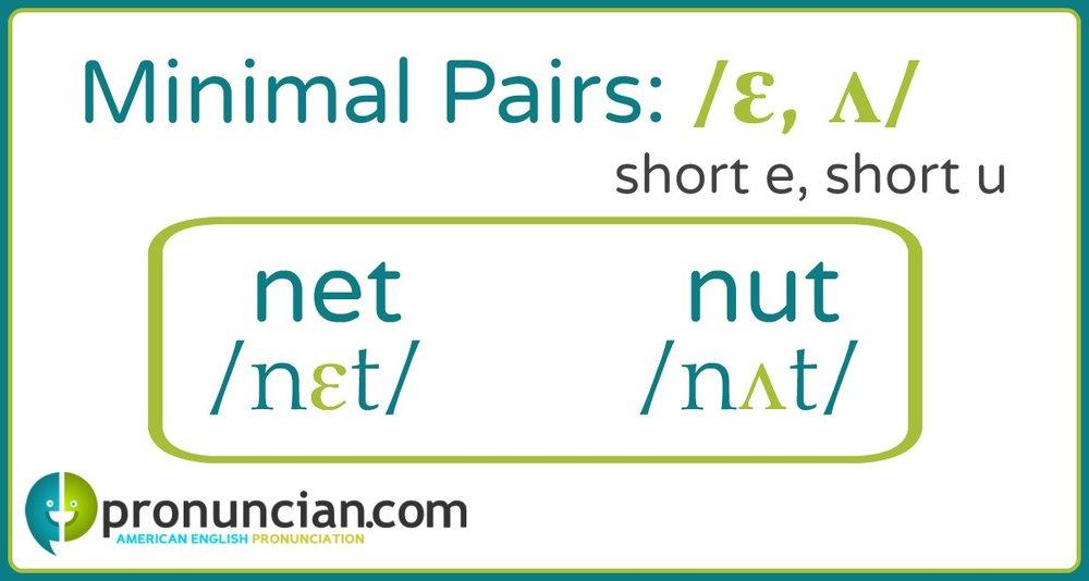 short e, short u minimal pairs: net/nut