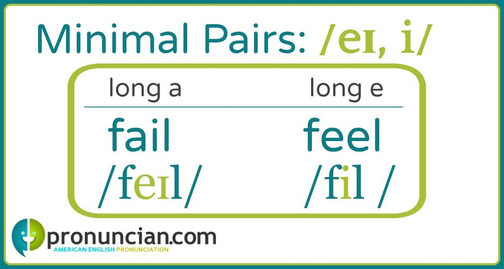 "Long a/Long e minimal Pairs ""fail-feel"""