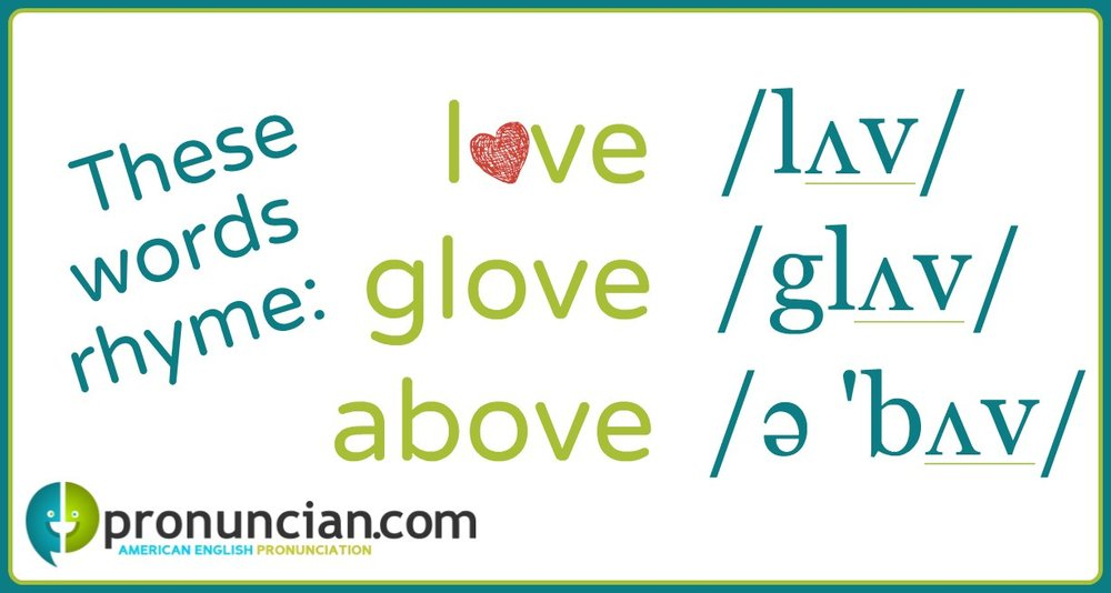 The words 'love,' 'glove,' and 'above' rhyme.