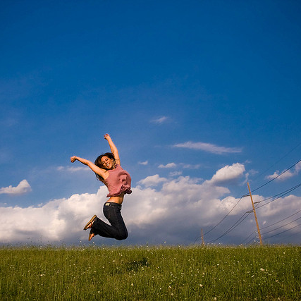 happy - leaping - woman