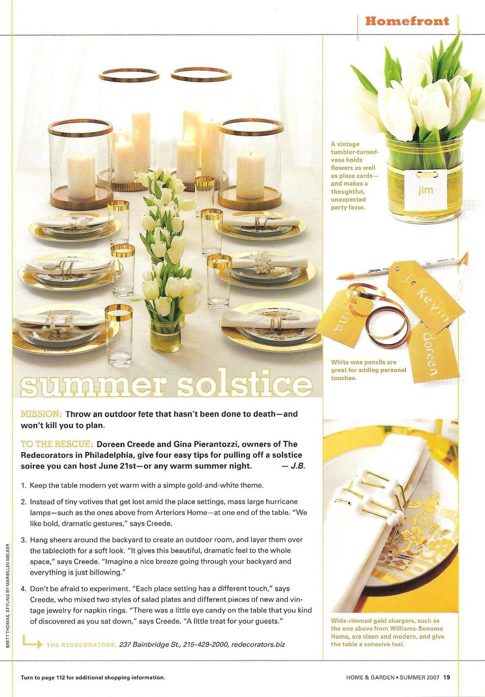 "STYLING & MAKEOVERS   My styling & entertaining tips for a ""Summer Solstice"" were featured in   Philadelphia Magazine Home & Garden."