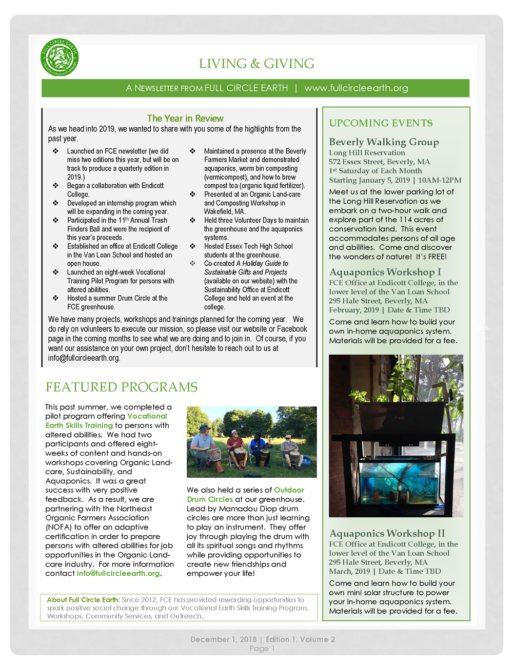 Current Newsletter - Click to download a printable version of the December, 2018 Full Circle Earth Newsletter.