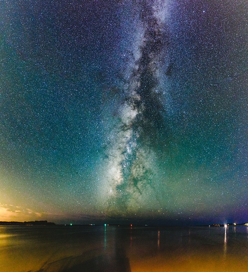 A 15 frame panorama of the Milky Way as seen from Cedar Key, Florida. 15 sec f/1.8 ISO 8000.