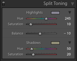 My White Balance Split Toning Settings