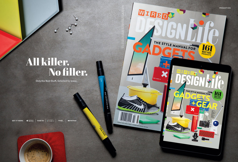 The February issue of WIRED featured a double-page promotional image for Design Life, a special edition magazine detailing all the year's best gadgets – my first print image for the brand. Art direction by Allie Fisher. Dec 12, 2013.