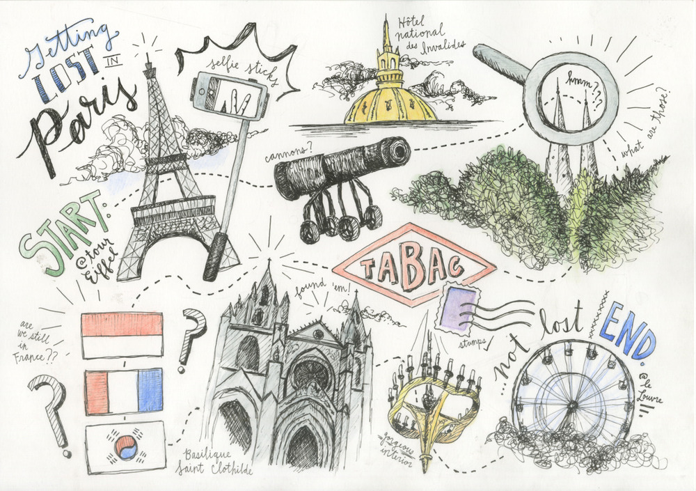 My psychogeographical response to getting lost in Paris for an hour… art school assignments are pretty fun sometimes.