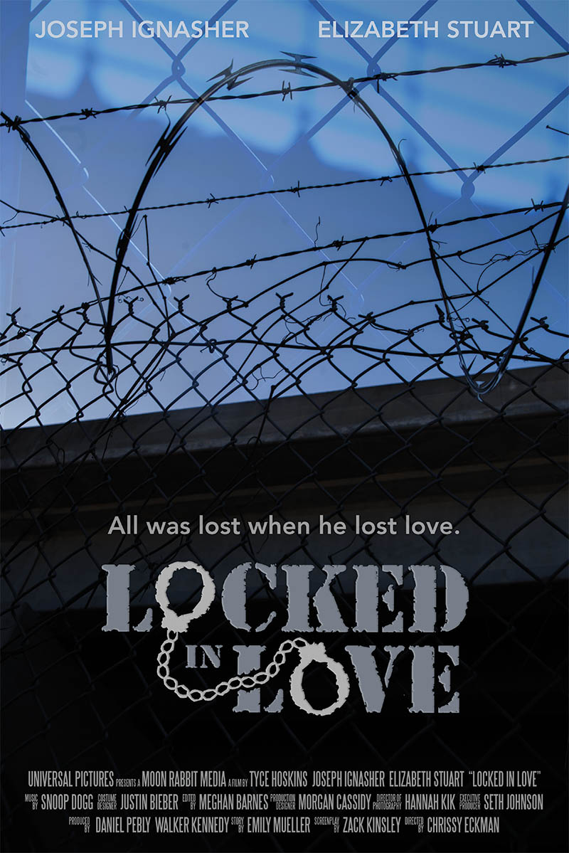 Just finished working on a project for my Graphic Design class, a movie poster for a film called  Locked in Love  based on the idea by Tyce Hoskins.   Locked in Love  is a romantic drama about a man who wakes up with no memory of the past few months and no understanding of why his beloved girlfriend is no longer a part of his life. He tries to contact her and reaches out to her family and friends, but eventually he gets arrested for breaking his restraining order too many times. Confined and confused, the man slowly starts to uncover bits of his past as his jail time progresses–first with flashbacks to all his memories of his girlfriend and then, finally, one that reveals to him not only why she is gone, but how he was the cause of her death.
