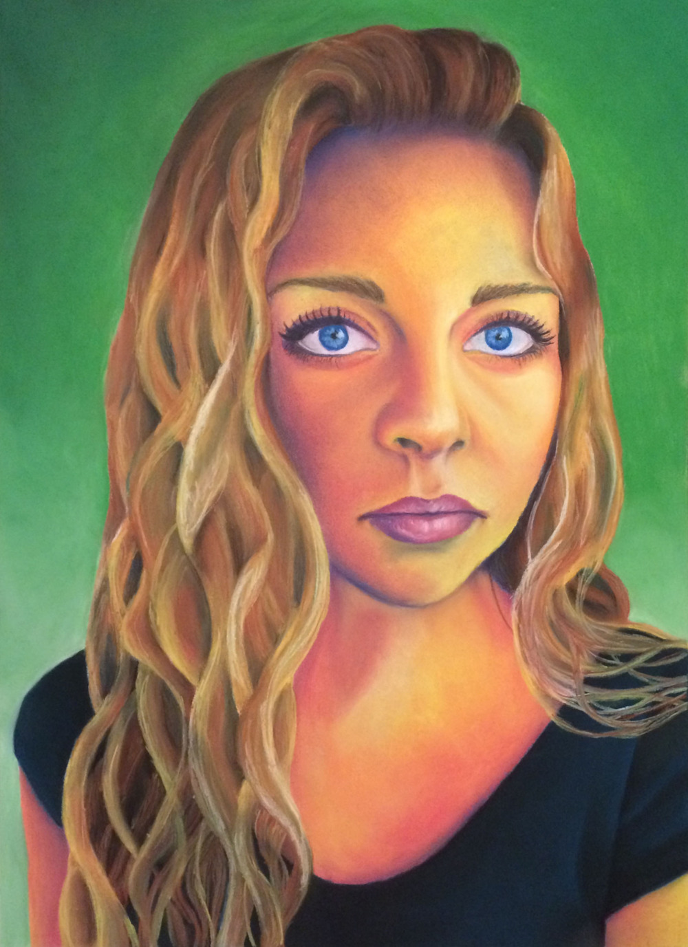 Dry pastel, 22x30 in. Self portrait for Drawing II class.
