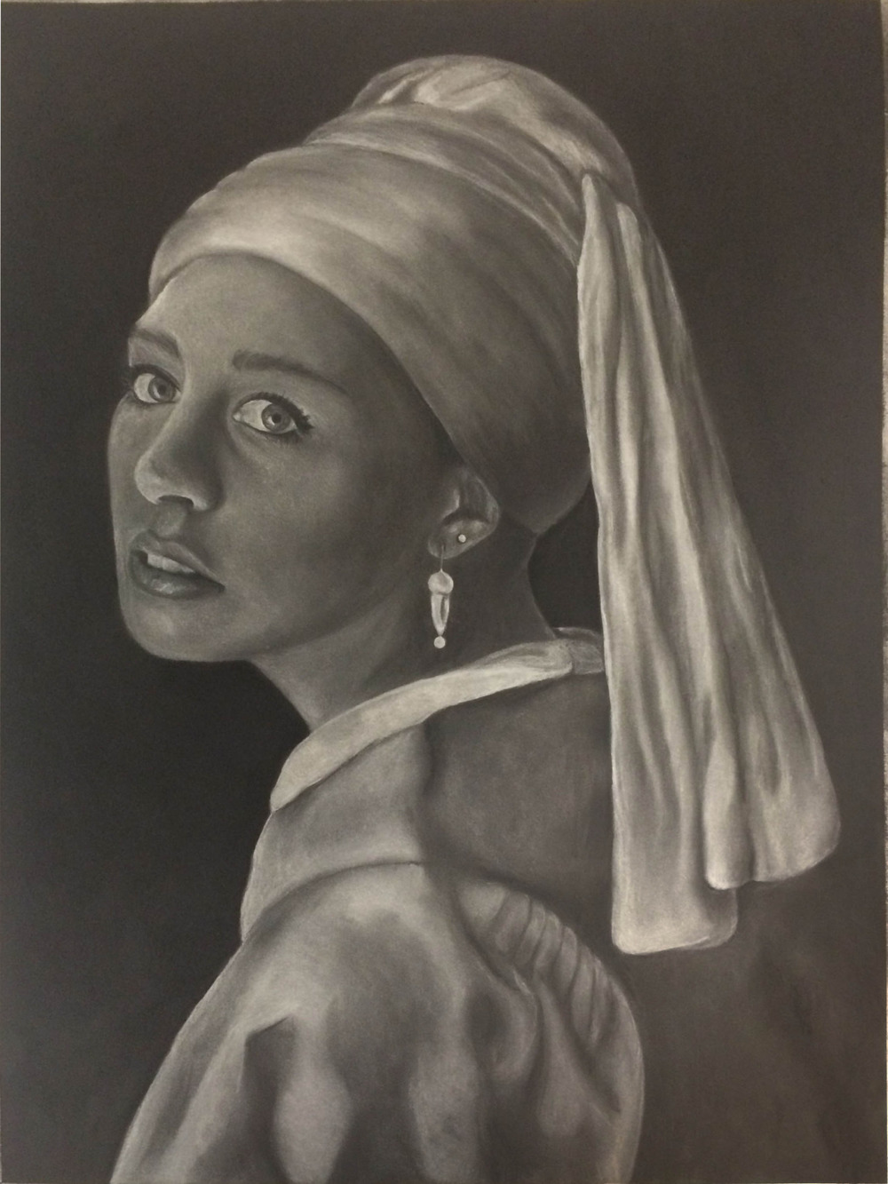 The [Other] Girl with the Pearl Earring.   White charcoal, 22x30 in. A portrait of myself combined with a famous painting for Drawing II.   I'm not too proud of this one, but I thought I'd post it anyway. First time ever drawing with white charcoal on black paper!