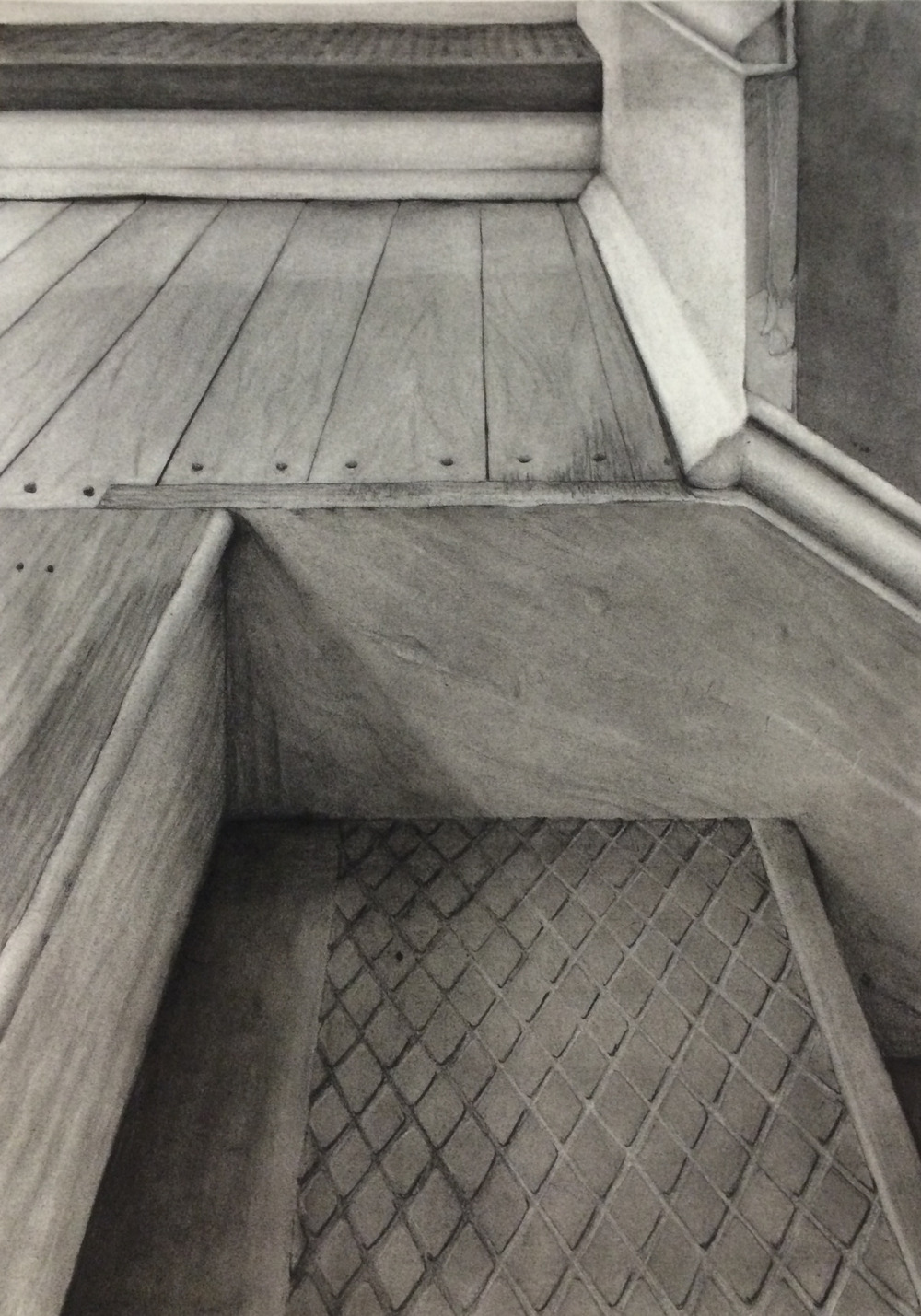 Charcoal, 14x18 in. One-point perspective drawing of the staircase at Wallin Hall, completed for Drawing II class.     Update:  This piece won Third Place in the Black and White Drawing category of the 2014 Foundation Honors Show!