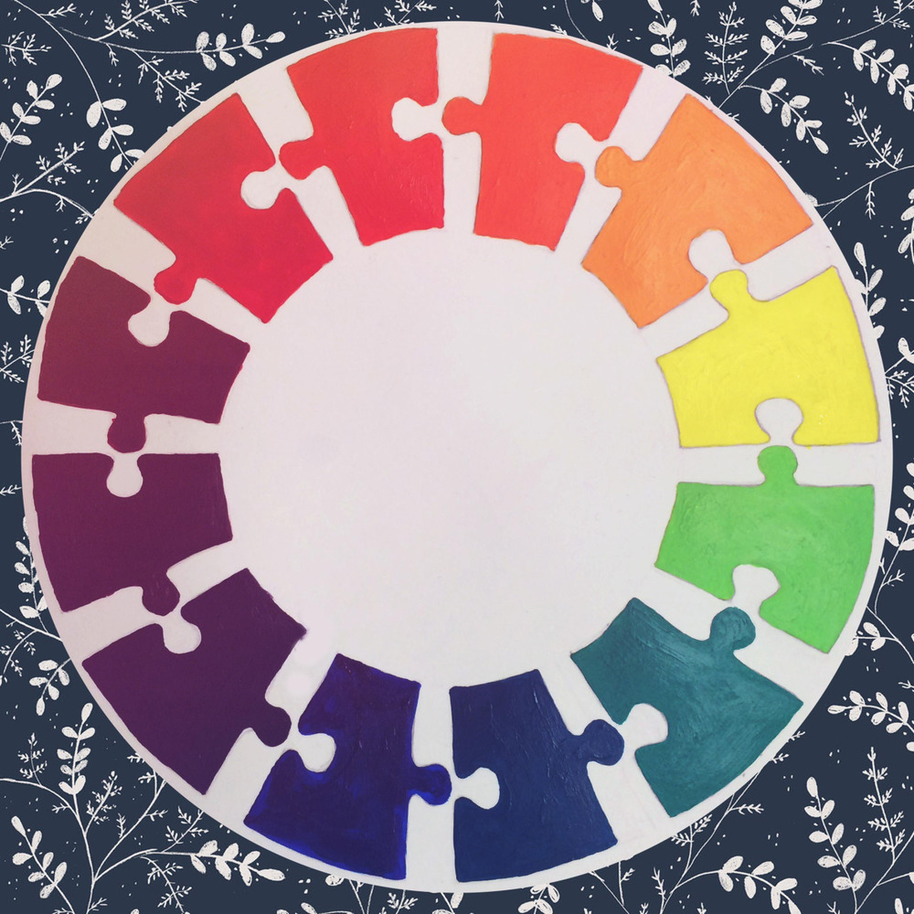 Acrylic paint, 7x7 in. Color theory introduction to mixing hues in the traditional color wheel.