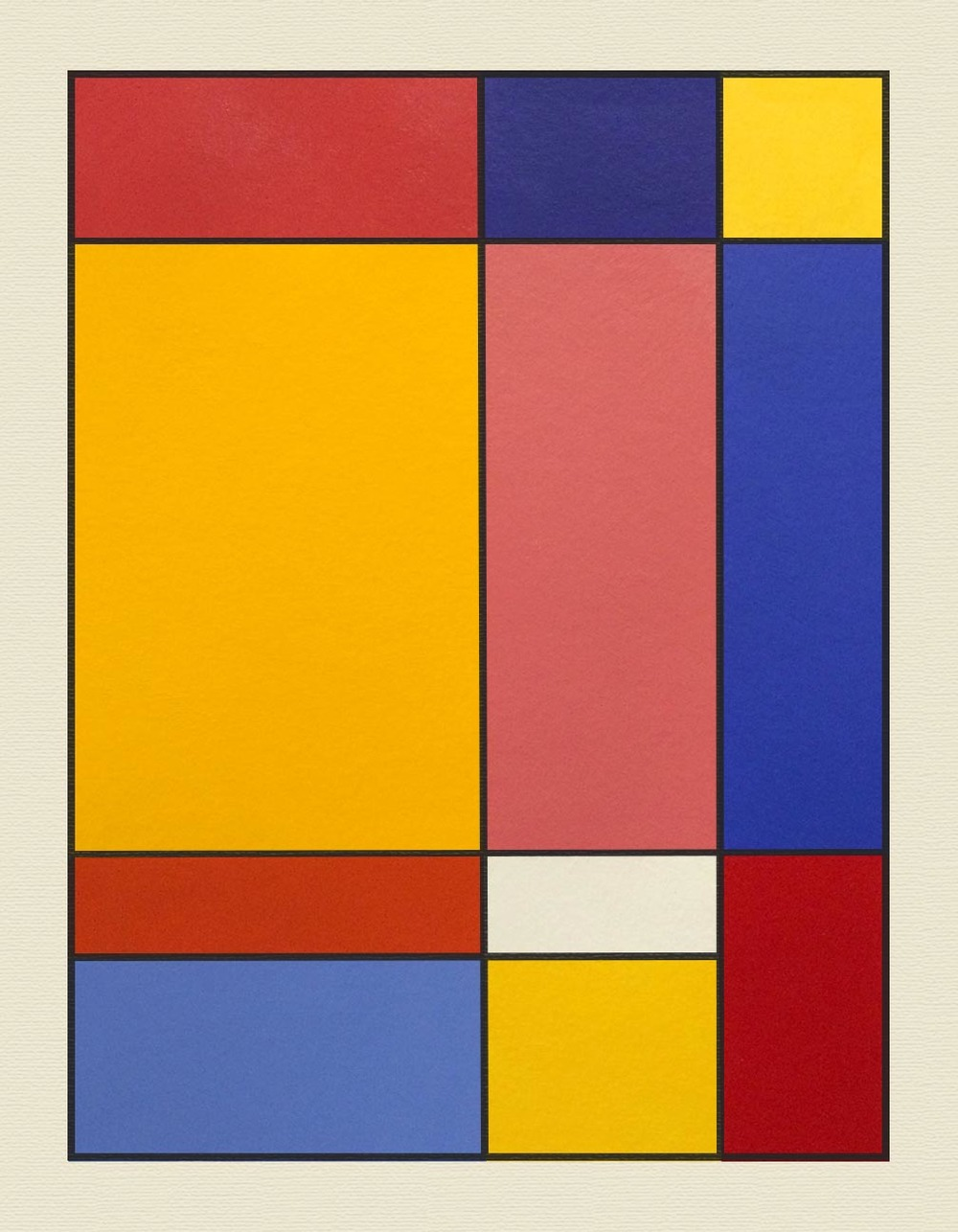 Color Theory: Mondrian Study    Acrylic paint, 12x16 in. with 1 in. border.     This project was inspired by Piet Mondrian, the famous painter who created works of primary-colored grids like this one.  The purpose was to understand mixing similar values of different hues and placing them next to each other in an appealing manner, while mastering the techniques of painting opaquely and creating smooth edges with tape. We were asked to make 11 boxes by drawing two lines vertically and three lines horizontally and then erasing one piece of one line. Next, we filled the boxes with three values of each primary color, one secondary color, and one white. The challenge was to match each value with the same amount of lightness or darkness in the other two hues of the same value (for example, the lightest blue had to match the lightest yellow and the lightest red). Finally, we added a black border for visual appeal and presented them to the class. I'm very happy with how mine turned out!