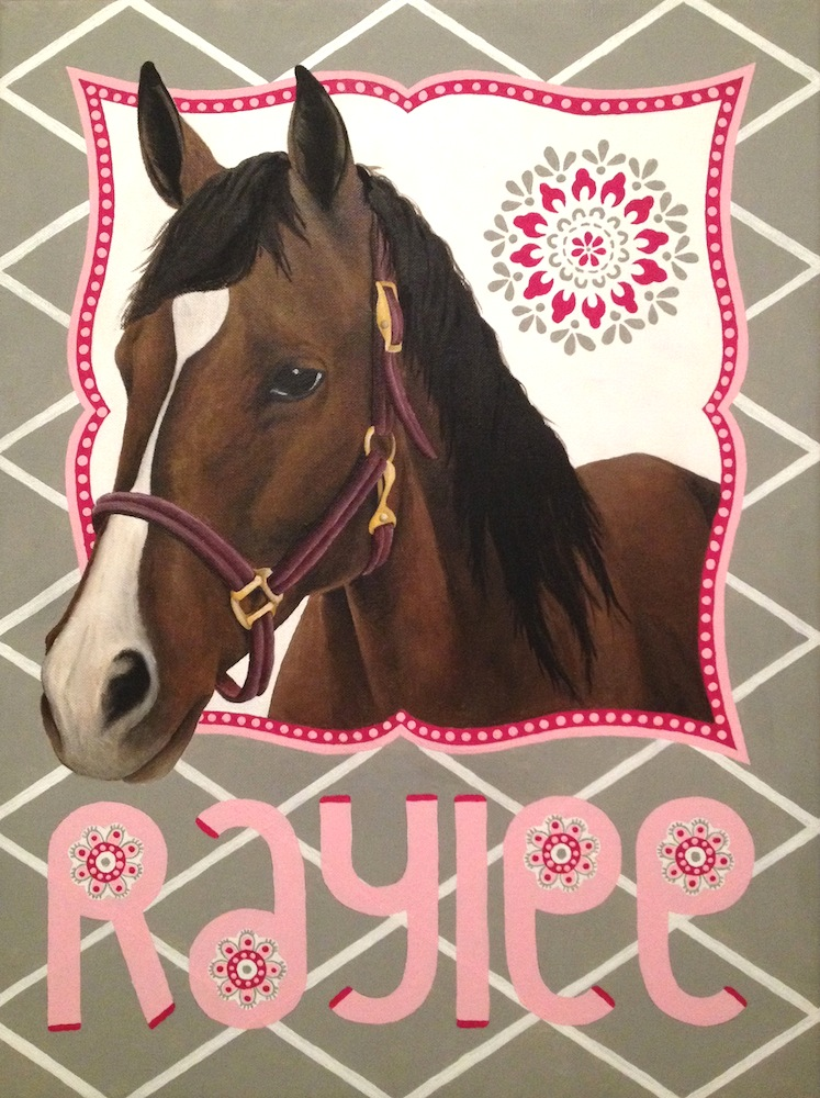 Raylee's Welcome Home Present   Acrylic paint, 18x24 in. Custom painting for a baby nursery with design inspirations from around the room (see photos below).                And the horse is one that the mother owned as a child!