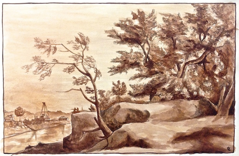 Drawing I: Landscape Copy     (click here to view this entry on my website)     Ink, 11.5x7.5 in. My rendition of the French Baroque painter  Claude Lorrain's original piece .