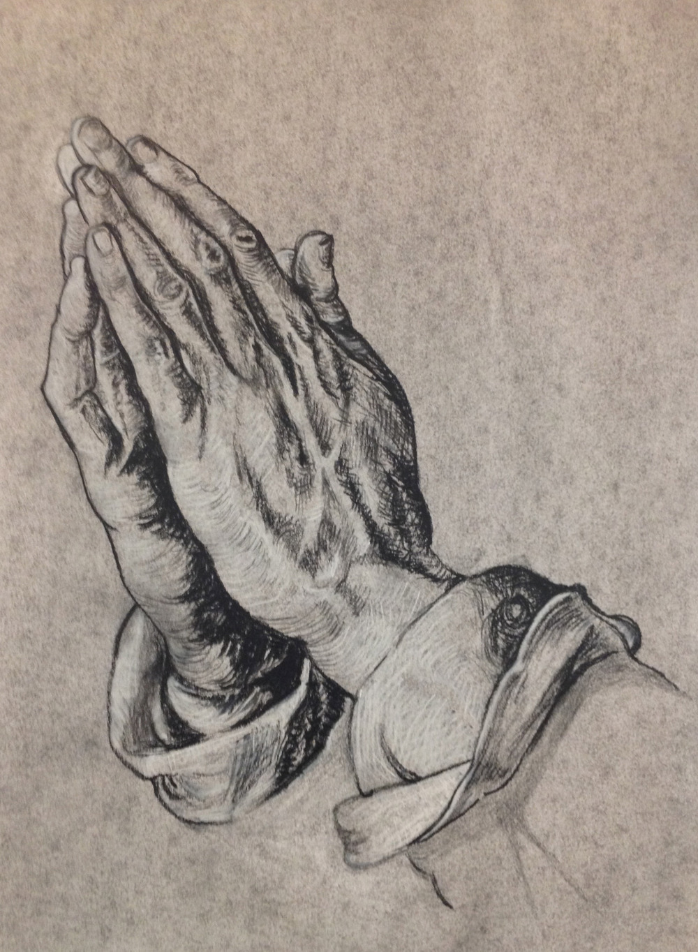 Drawing I: Praying Hands     (click here to view this entry on my website)     Charcoal, 9x12 in. Completed as a homework assignment to copy a piece from the Renaissance.