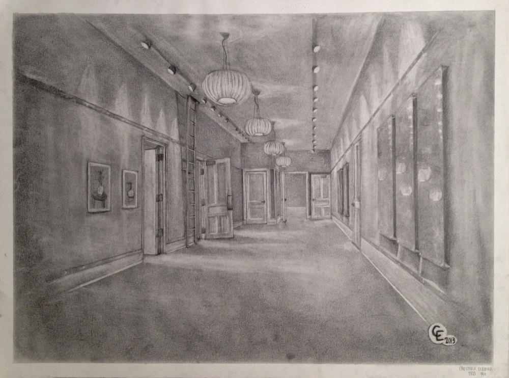 Drawing I: Wallin Hallway     (click here to view this entry on my website)     Graphite, 24x18 in.  A study of linear perspective and reductive drawing technique.        Update:  this piece made it onto the wall!