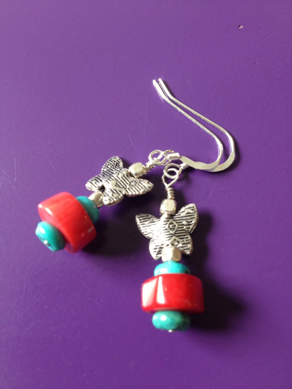 Custom-made coral, turquoise and Thai silver drop earrings for a special chica. Contact me to commission something pretty.