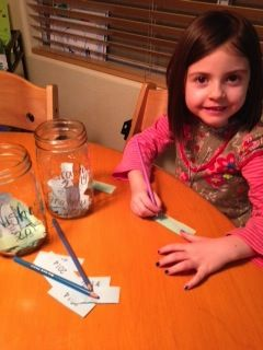 my wee girl (even wee-er) making wishes & listing gratitude