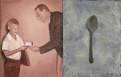"Self Portrait | 10"" X 16"" | oil on canvas + silver spoon"