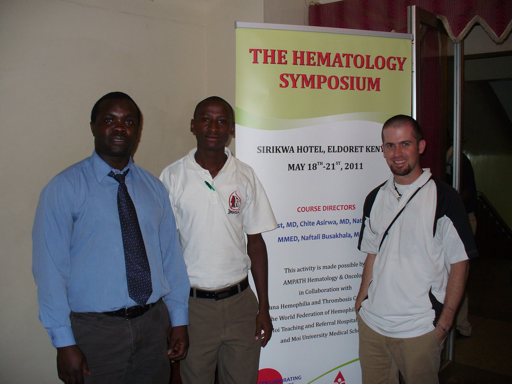 Before one of our educational talks about bleeding disorder with Dr. Chite and a young man with hemophilia from Kenya