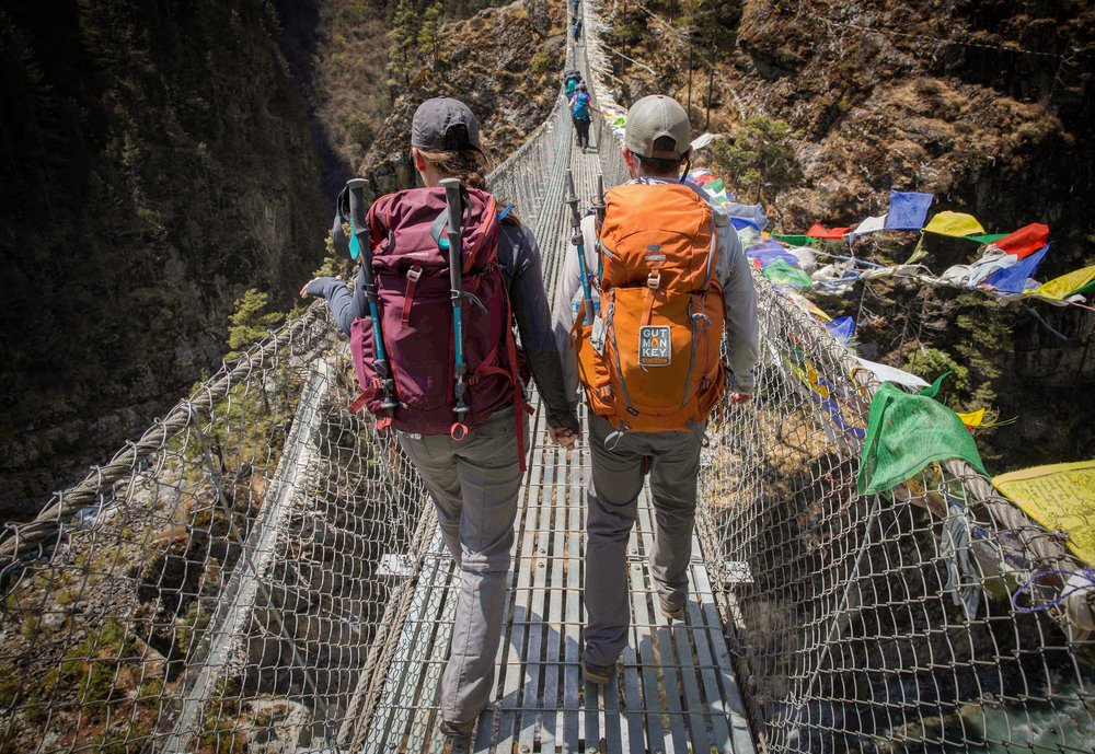 Jess and I crossing one of the many suspension bridges Photo Credit: Ryan Waters
