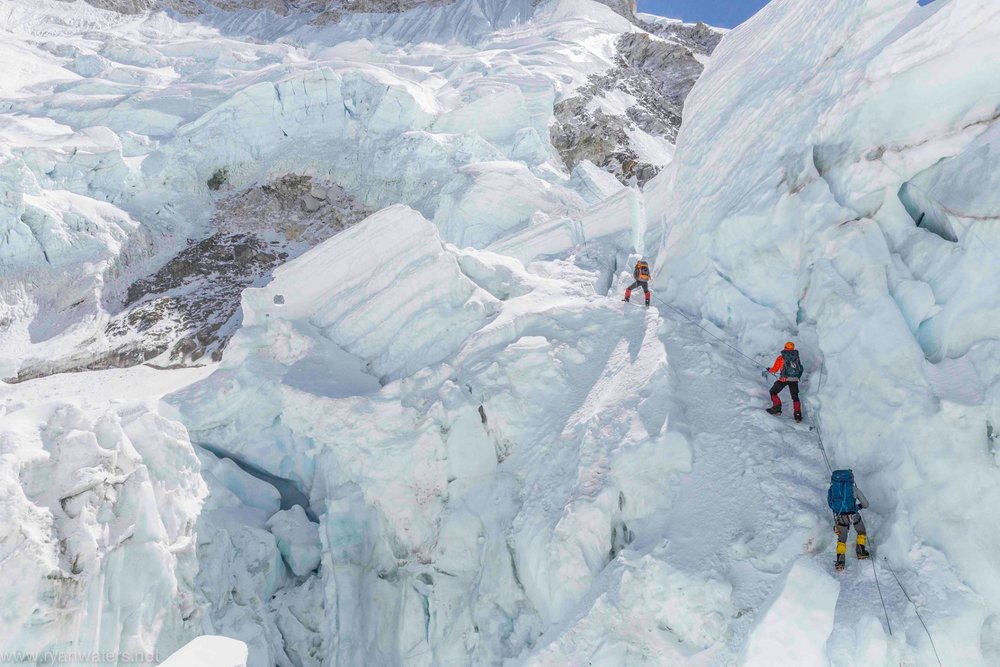 Inside the Khumbu Icefall. Photo Credit: Ryan Waters