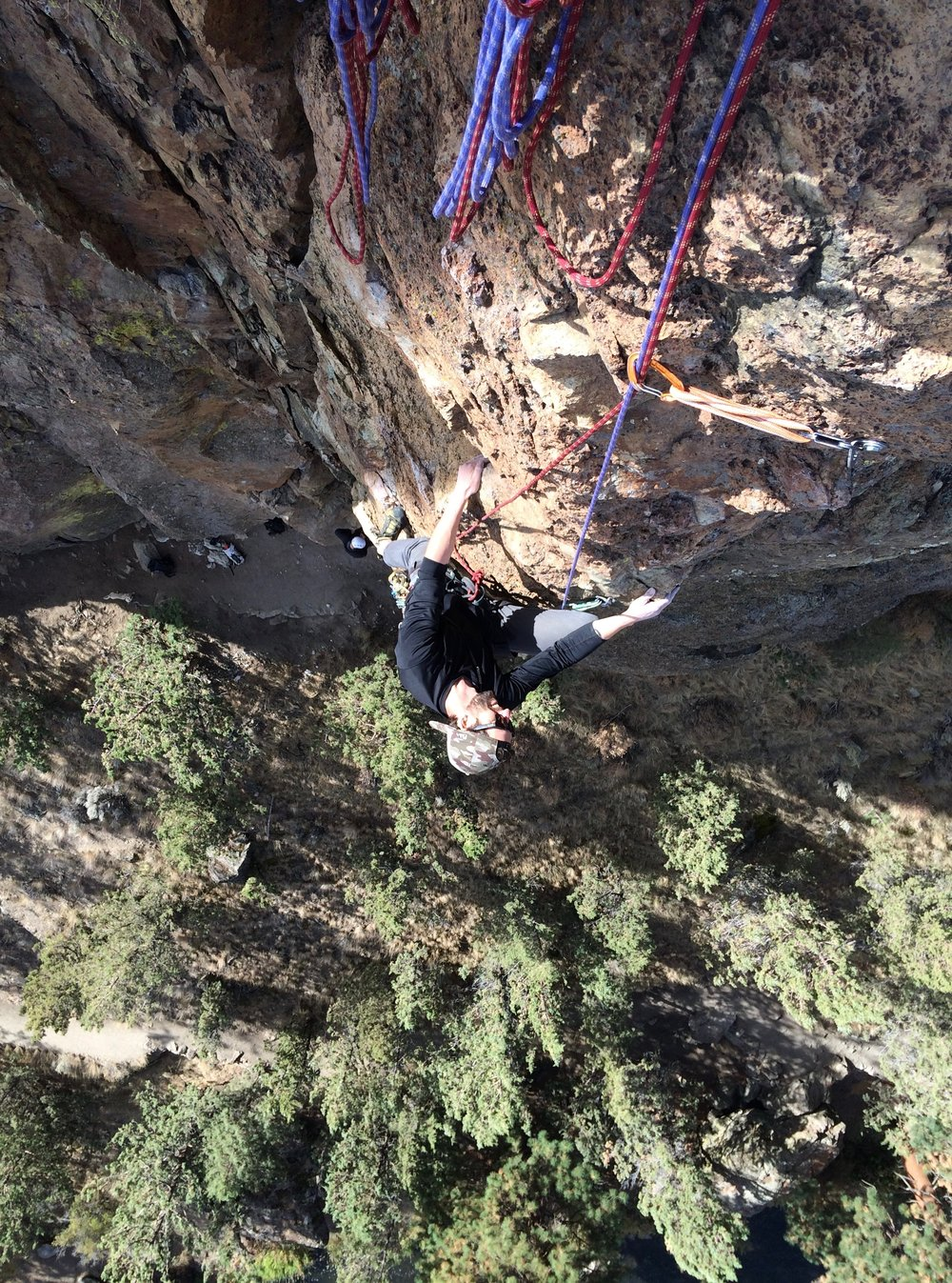 Dave Henkel and Gavin come up pitch 2 of European Vancation, Smith Rock, Oregon, USA