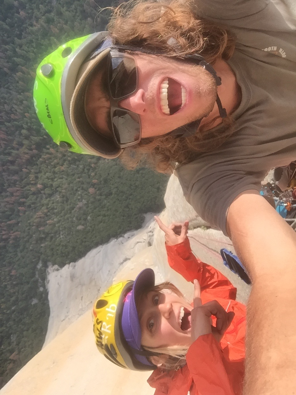 Jackson Marvell and I before we knew we would get caught in a rain storm on the top of El Cap. Good times Jackson. Your the Best.