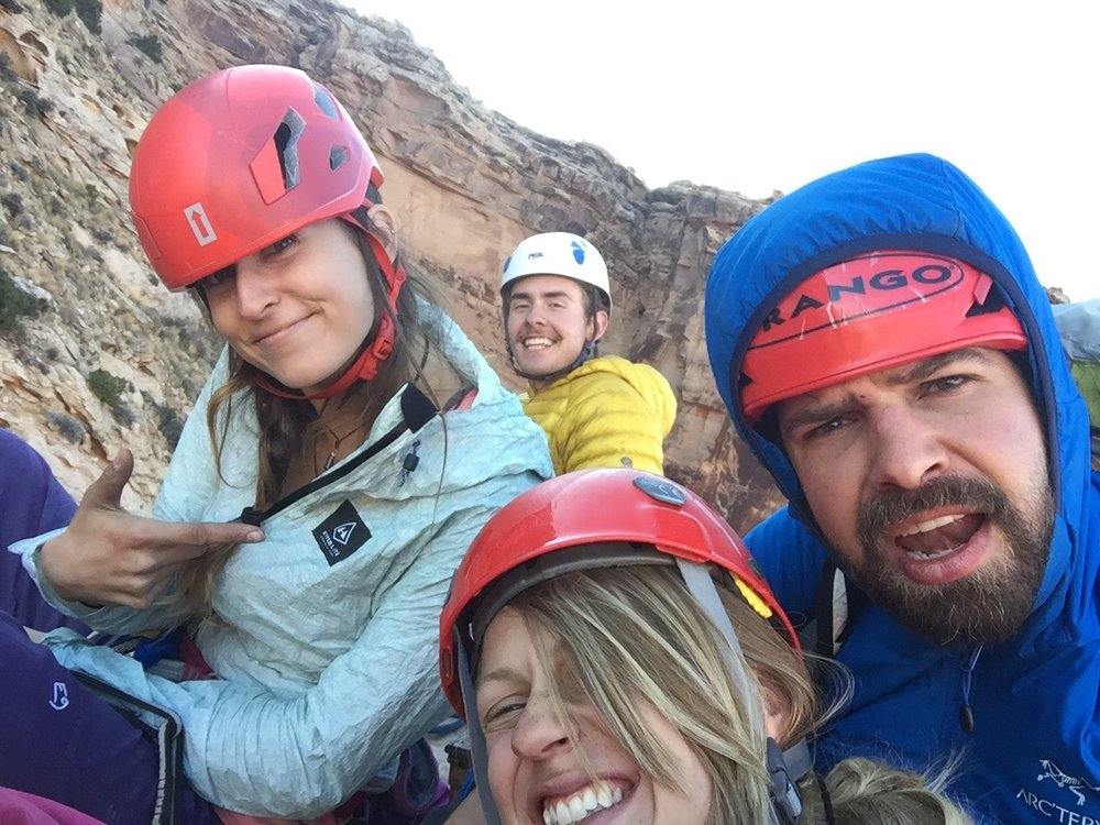 Emilee, Ari, Aaron, me and some guy (in yellow) on top of lightbulb. It was a crowded summit