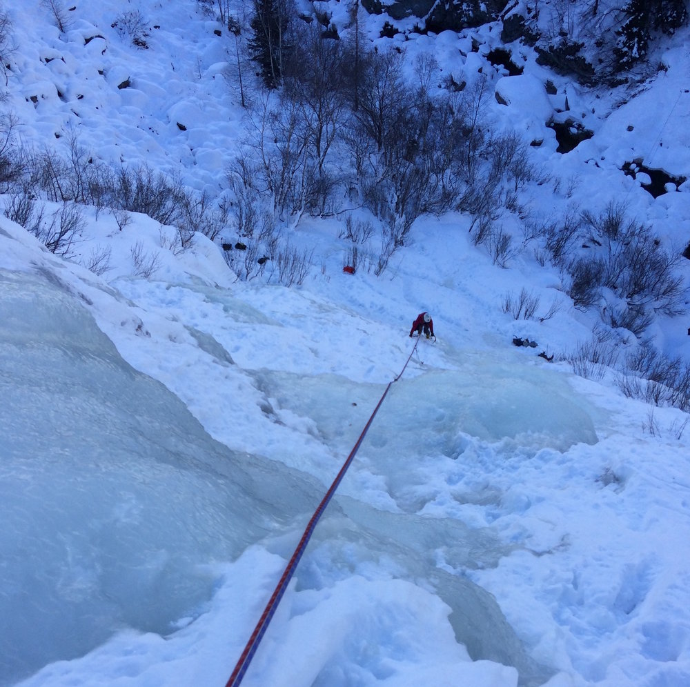 Jenny cruising up some town ice. Thats right, TOWN ICE. Chamonix is kinda ridiculous.