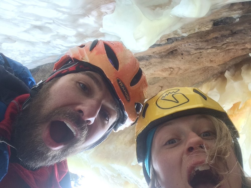 Ari Novak and I in our sweet Ice cave belay on Lake Superior
