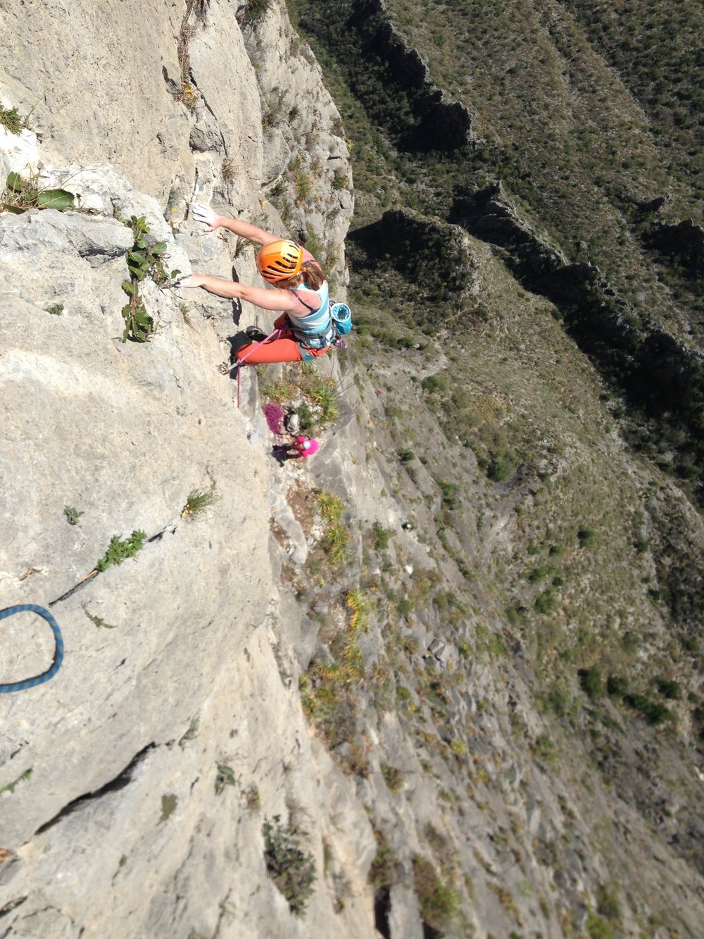 Jewell Lund and I Climbing Time Wave Zero. Or Microwave zero as the locals call it. IT WAS SO HOT.