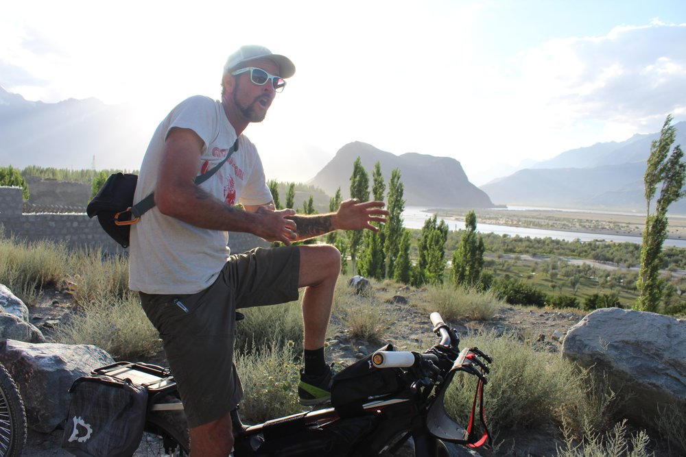 doom being silly on a day ride around Skardu.