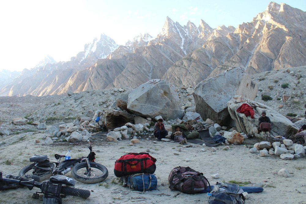we had arrived at camp for the night. porters chilling for hours cause we were so slow carrying our bikes.