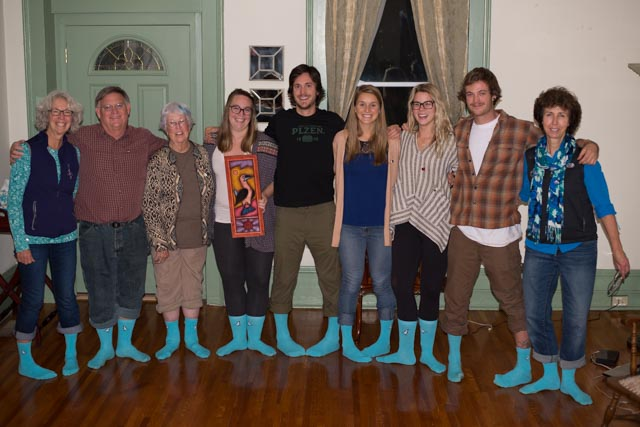 Happy Customers! Three Generations of this family have been to the Galapagos and have seen blue-footed Boobies. their first trip was in 1975. Thanks for wearing our socks!