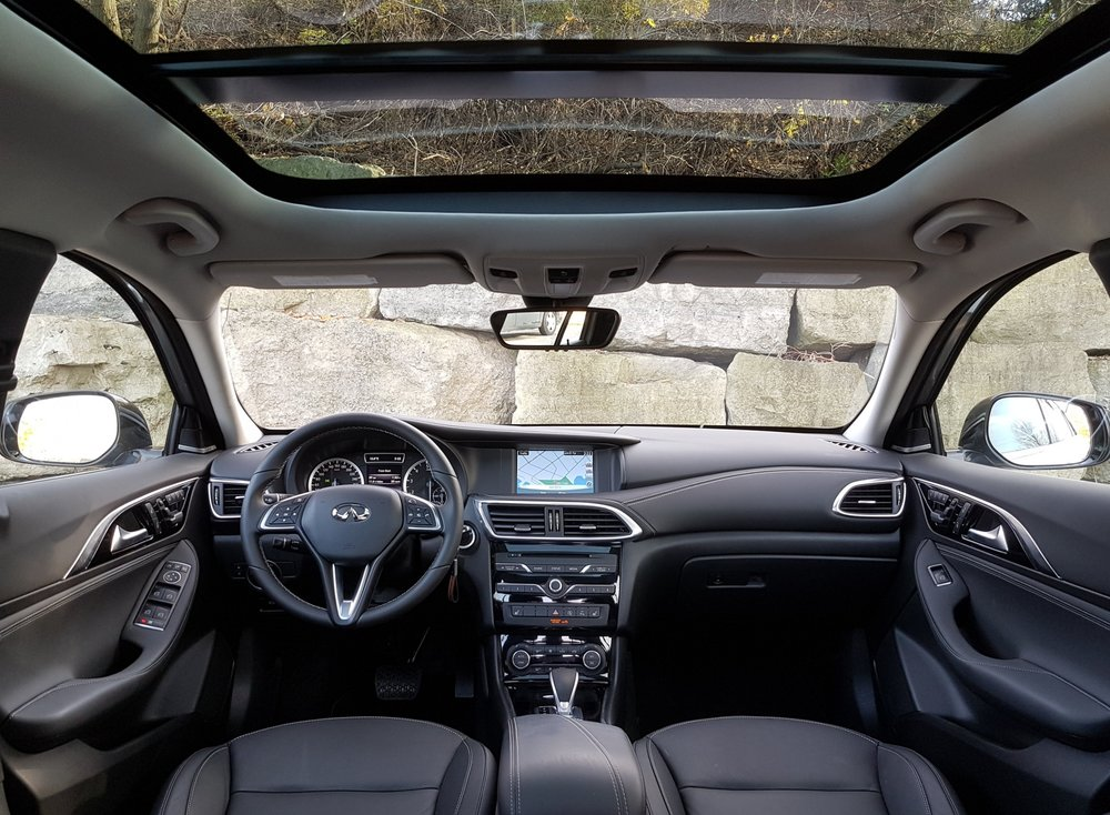 The QX30's interior feels pretty airy for being almost entirely black. Material quality is excellent.
