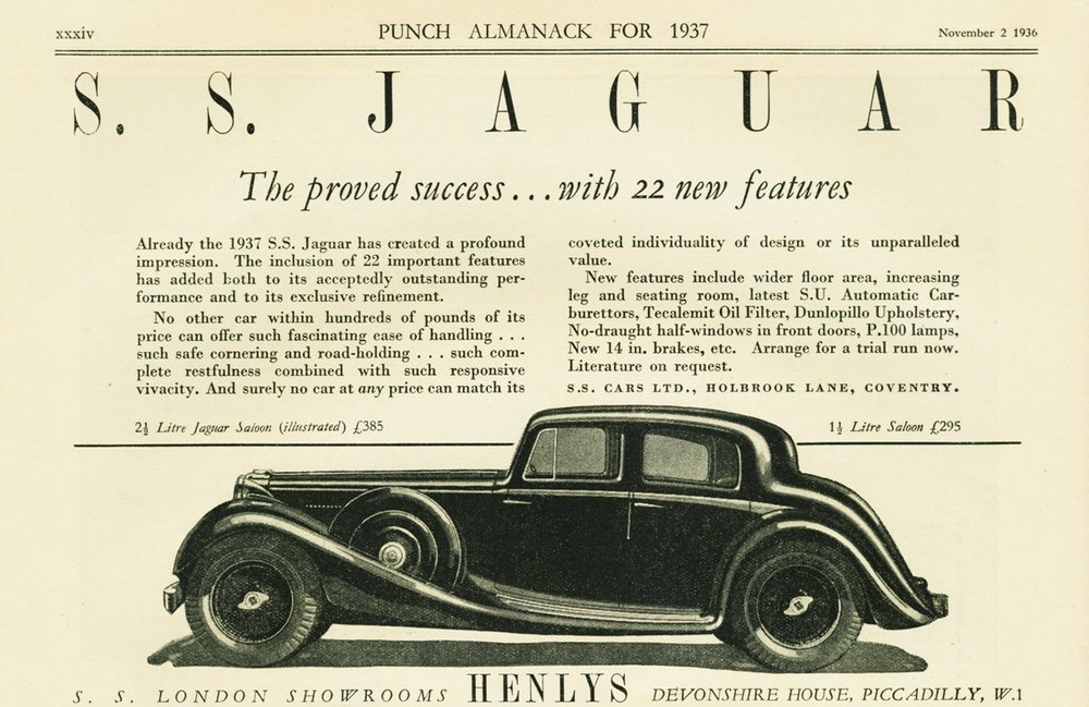 S.S. Cars Advertisement, 1936