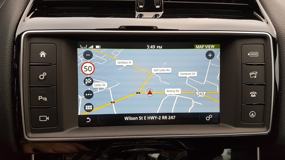 No gesture control on the base InControl Touch system. After trying to zoom and pan the navigation map, you'll come up with a 'gesture' of your own.