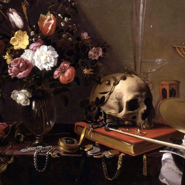 Adriaen van Utrecht | Vanitas Still-Life with a Bouquet and a Skull