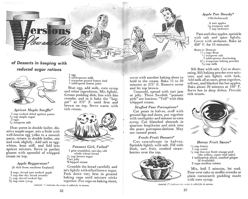 In the top right you'll see the original recipe for Pan Dowdy as it appeared in  The Victory Cook Book .