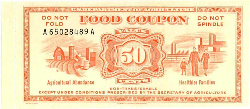 Food coupon from 1967 that showcases the links among agricultural, families, and food stamps. From  Society of Paper Money Collectors .