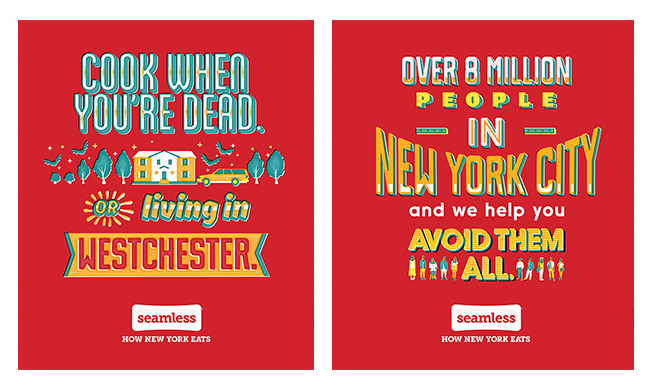 A sample of the ads.  I generally avoid people by spending my time cooking, but go ahead seamless, you do you. From  Food52 .