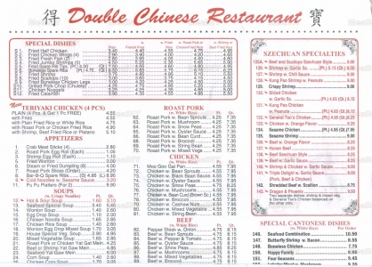 The quintessential/stereotypical Chinese menu. From  MealNY .