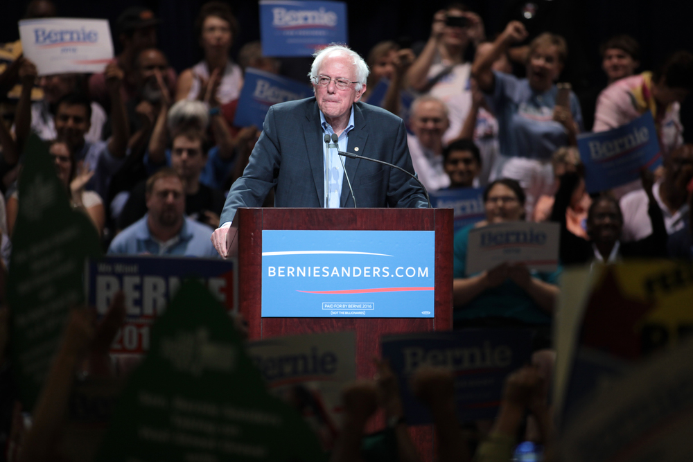 Sen. Bernie Sanders speaking at a town meeting at the Phoenix Convention Center in Phoenix, Arizona.  Flickr / Gage Skidmore .